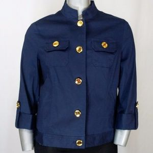 Jones NY Navy 3/4 Sleeve Gold Button Jacket, XL